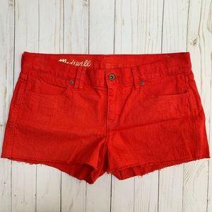 Madewell Cut Off Denim Jean Shorts Red Orange